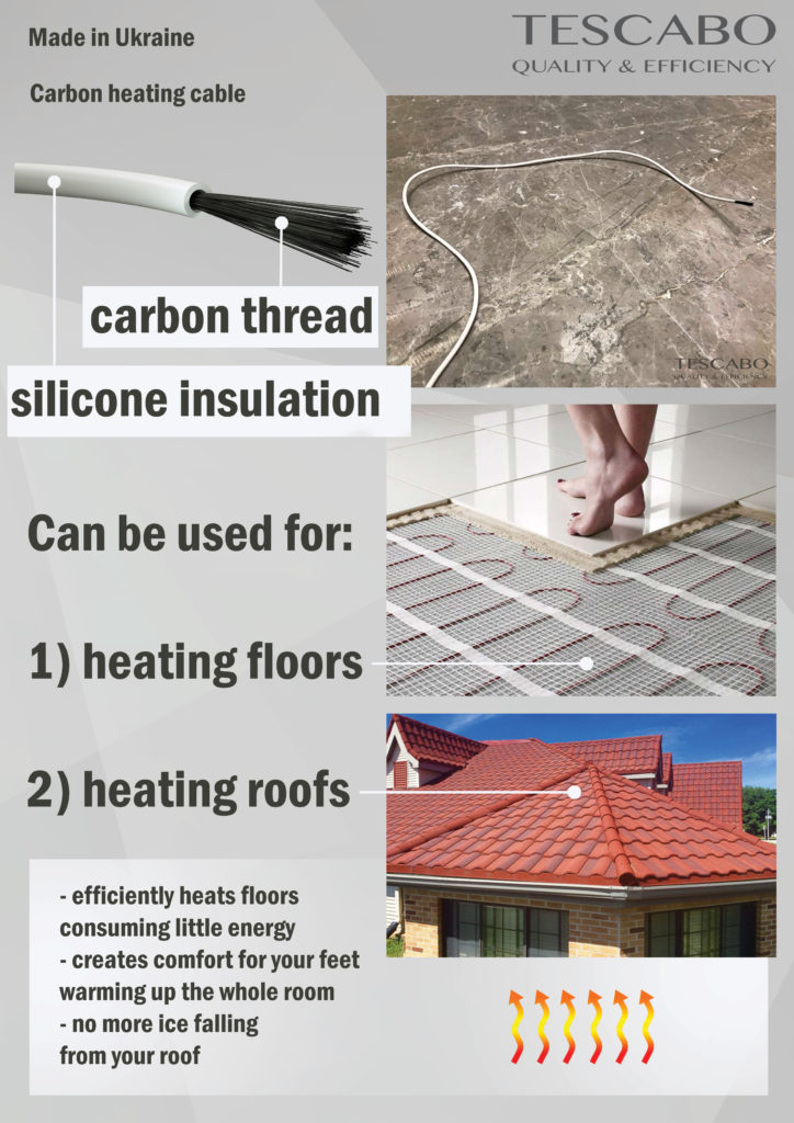 Tescabo carbon hating wire is used for heating floors, roofs, walls and more!